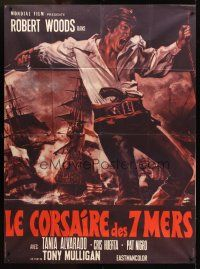 3x781 IL CORSARO French 1p '70 cool artwork of swashbuckler Robert Woods & huge ships at sea!