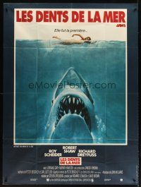 3x786 JAWS French 1p '75 art of Steven Spielberg classic man-eating shark attacking sexy swimmer!