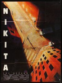 3x797 LA FEMME NIKITA French 1p '90 Luc Besson, cool overhead art of Anne Parillaud in alley!