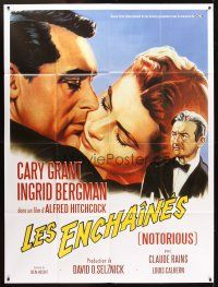 3x860 NOTORIOUS French 1p R2008 Roger Soubie art of Cary Grant & Ingrid Bergman, Hitchcock classic!