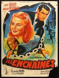 3x861 NOTORIOUS French 1p R54 different Belinsky art of Cary Grant & Ingrid Bergman, Hitchcock!