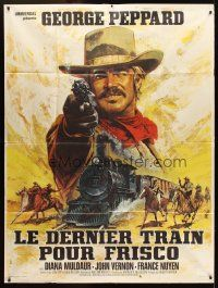 3x866 ONE MORE TRAIN TO ROB French 1p '71 different art of George Peppard pointing gun by Mascii!