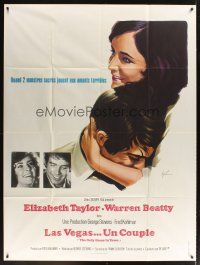3x868 ONLY GAME IN TOWN French 1p '69 cool art of Elizabeth Taylor & Warren Beatty by Grinsson!