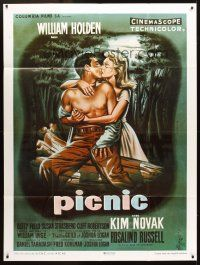 3x882 PICNIC French 1p R80s different art of William Holden & Kim Novak kissing by Jean Mascii!