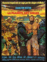 3x885 PLANET OF THE APES French 1p '68 art of enslaved Charlton Heston by Jean Mascii!