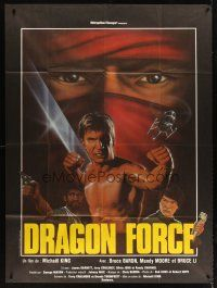 3x888 POWERFORCE French 1p '82 Dragon Force, cool kung fu artwork of Bruce Baron & Bruce Li!!