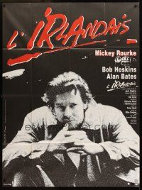 3x889 PRAYER FOR THE DYING French 1p '87 different image of Mickey Rourke, art by Janiszewski!