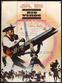 3x929 SOMETHING BIG French 1p '71 cool image of Dean Martin w/giant gatling gun, Brian Keith