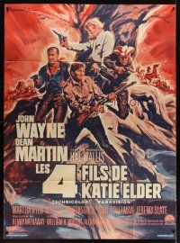 3x930 SONS OF KATIE ELDER Sonis commercial French 1p '80s different art John Wayne & Martin by Landi
