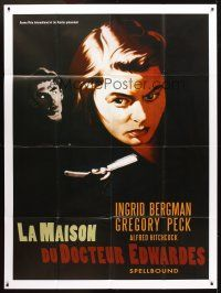 3x932 SPELLBOUND French 1p R00s Hitchcock, different art of Ingrid Bergman & Gregory Peck!