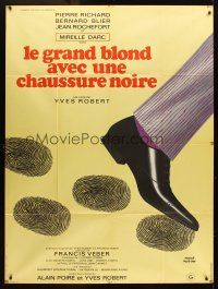 3x945 TALL BLOND MAN WITH ONE BLACK SHOE French 1p '72 wacky artwork by Herve Morvan!