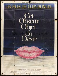 3x948 THAT OBSCURE OBJECT OF DESIRE French 1p '77 Luis Bunuel, cool sexy lips artwork by Ferracci!