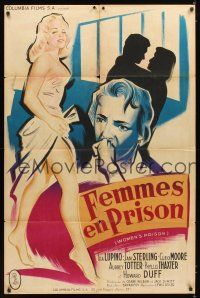 3x578 WOMEN'S PRISON French 31x47 '54 different Bertrand art of Ida Lupino & sexy bad Cleo Moore!