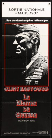 3x585 HEARTBREAK RIDGE French door panel '86 Clint Eastwood all decked out in uniform & medals!