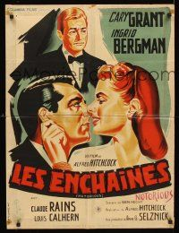 3x588 NOTORIOUS French 23x32 R54 Hitchcock, different Belinsky art of Cary Grant & Ingrid Bergman
