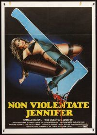3x464 I SPIT ON YOUR GRAVE Italian 1p '84 different Enzo Sciotti art of tortured woman & hatchet!