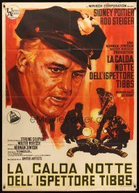 3x468 IN THE HEAT OF THE NIGHT Italian 1p '67 different super close up art of cop Rod Steiger!