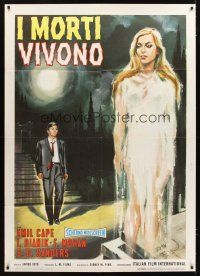 3x533 SWEET SOUND OF DEATH Italian 1p '65 art of man in suit watching sexy ghost rise from grave!