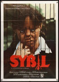 3x534 SYBIL Italian 1p '76 different c/u of creepy Sally Field who has multiple personalities!