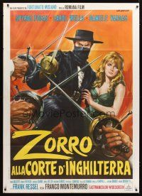3x555 ZORRO IN THE COURT OF ENGLAND Italian 1p '69 Stefano art of the masked hero protecting girl!