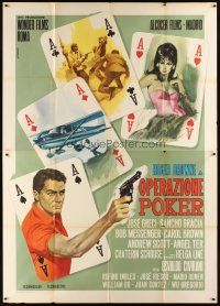 3x379 OPERAZIONE POKER Italian 2p '66 cool art of scenes on ace playing cards by Renato Casaro!