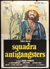 3x386 SQUADRA ANTIGANGSTERS Italian 2p '79 art of Statue of Liberty held at gunpoint by Avelli!
