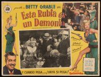3x230 BEAUTIFUL BLONDE FROM BASHFUL BEND Mexican LC '49 crowd watches Betty Grable play checkers!