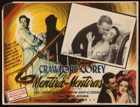 3x281 HARRIET CRAIG Mexican LC '50 romantic c/u of Joan Crawford & Wendell Corey, cool border art!