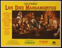 3x336 TEN COMMANDMENTS Mexican LC R60s people at table listen to Charlton Heston as Moses!