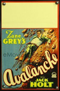 3x008 AVALANCHE WC '28 from Zane Grey's story, artwork of Jack Holt falling down mountainside!