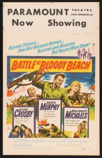 3x010 BATTLE AT BLOODY BEACH WC '61 Audie Murphy blazing and blasting the Pacific wide open!
