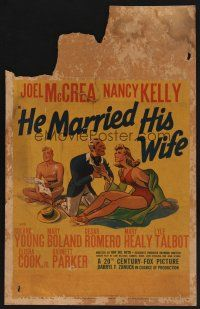 3x061 HE MARRIED HIS WIFE WC '39 great art of Joel McCrea trying to keep ex-wife from new suitor!