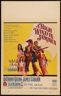 3x063 HIGH WIND IN JAMAICA WC '65 cool art of pirates Anthony Quinn & James Coburn!