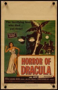 3x066 HORROR OF DRACULA WC '58 Hammer, cool vampire monster & sexy girl artwork by Joseph Smith!