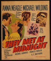 3x104 PICCADILLY INCIDENT WC '49 art of Anna Neagle & Michael Wilding, They Met at Midnight!