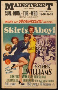 3x124 SKIRTS AHOY WC '52 great full-length art of sexy sailor Esther Williams in uniform!