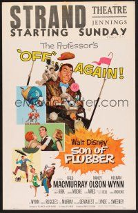 3x128 SON OF FLUBBER WC '63 Walt Disney, art of absent-minded professor Fred MacMurray!