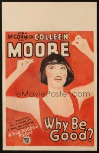 3x153 WHY BE GOOD WC '29 cool art of carefree flapper Colleen Moore snapping her fingers!