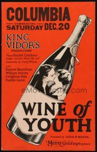 3x154 WINE OF YOUTH WC '24 King Vidor, cool art of young lovers kissing inside wine bottle!