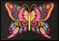 4j786 BUTTERFLY Canadian commercial poster '70s blacklight, trippy psychedelic art!