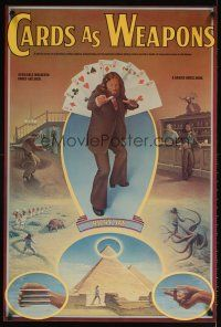 4j702 CARDS AS WEAPONS commercial poster '77 great art of Ricky Jay throwing playing cards!