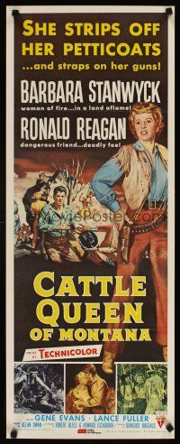 4j703 CATTLE QUEEN OF MONTANA commercial poster '81 cowgirl Barbara Stanwyck, Ronald Reagan!