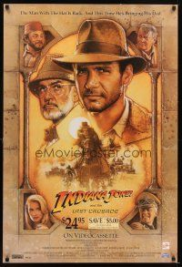 4j009 INDIANA JONES & THE LAST CRUSADE video 1sh '89 art of Ford & Sean Connery by Struzan!