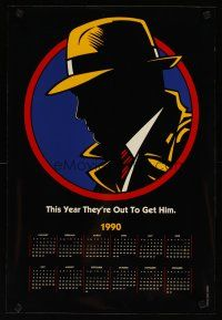 4j032 DICK TRACY calendar '90 art of Warren Beatty as Chester Gould's classic detective!