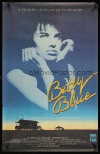 4j646 BETTY BLUE video poster '86 Jean-Jacques Beineix, pensive Beatrice Dalle in sky!