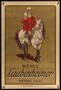 4j452 BIERES LAUBENHEIMER 31x47 French advertising poster '15 Ripart art of King Henry IV w/beer!