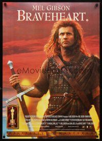 4j647 BRAVEHEART 2-sided English video poster '95 cool image of Mel Gibson as William Wallace!