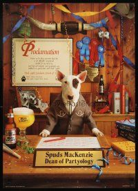 4j468 BUD LIGHT 20x28 advertising poster '86 image of Spuds MacKenzie, dean of partyology!