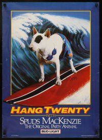 4j467 BUD LIGHT 20x28 advertising poster '86 classic image of Spuds MacKenzie surfing!