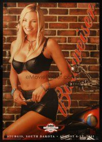 4j469 BUDWEISER 19x27 advertising poster '01 sexy girl at Sturgis Motorcycle Rally!